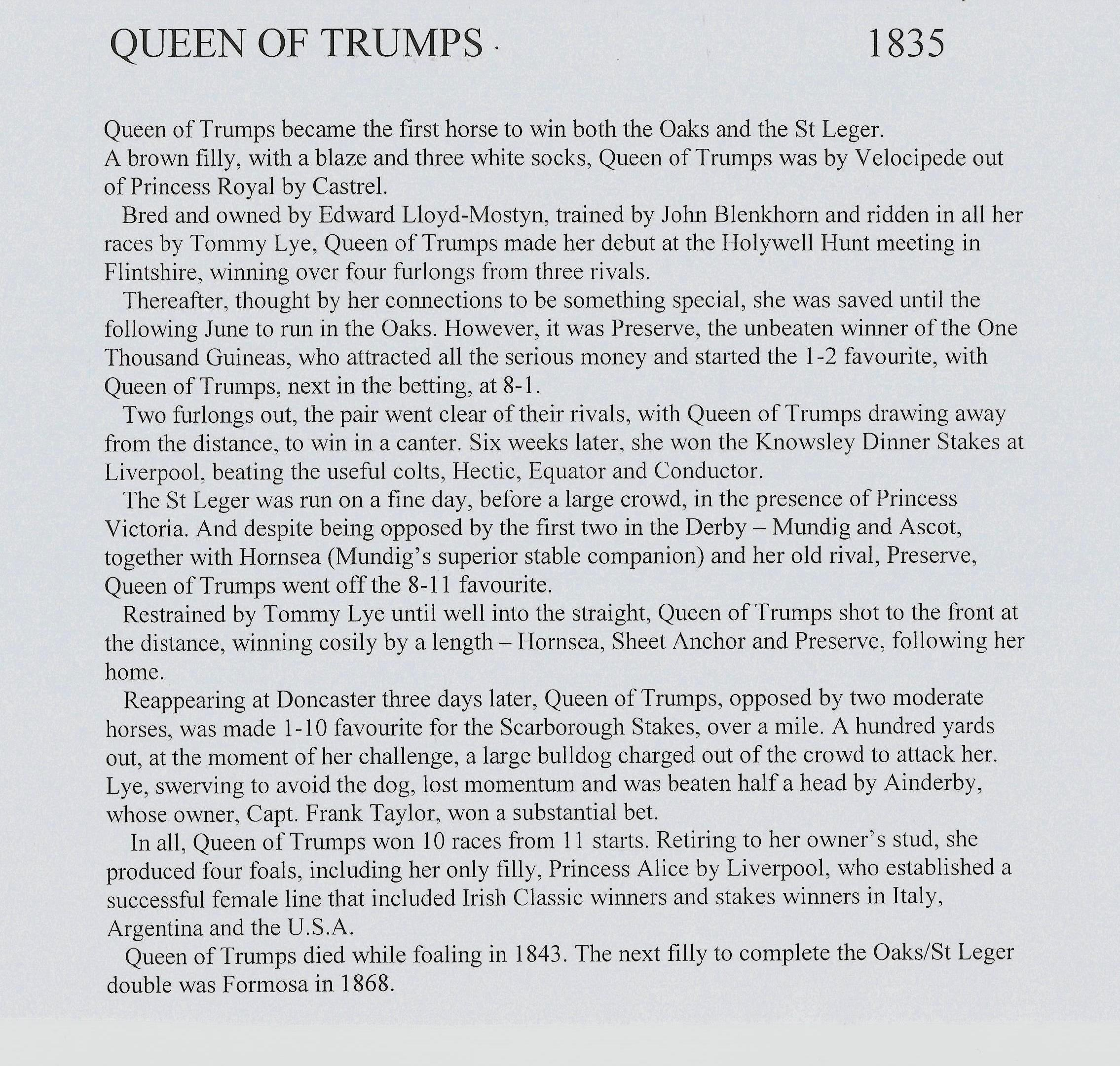 racing blog posts archive michael church racing books page  queen of trumps essay