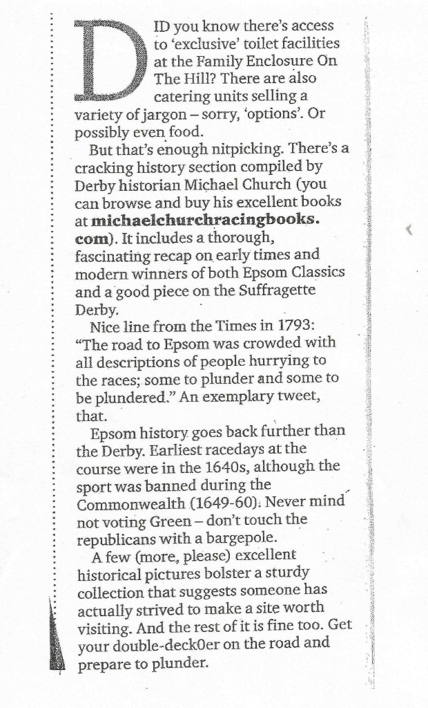 Racing Post's Epsom Derby website review