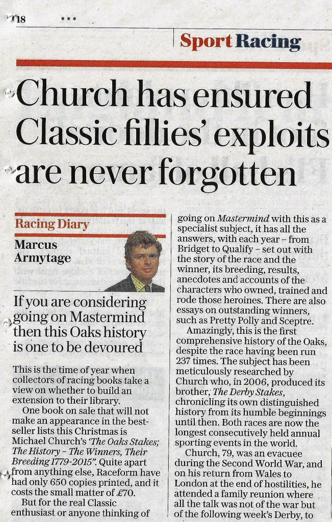 Oaks book review - Daily Telegraph - Copy a