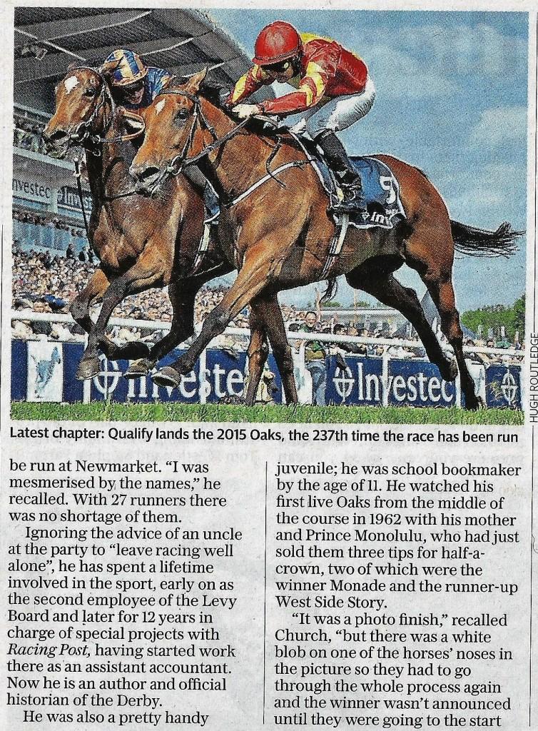 Oaks book review - Daily Telegraph - Copy b