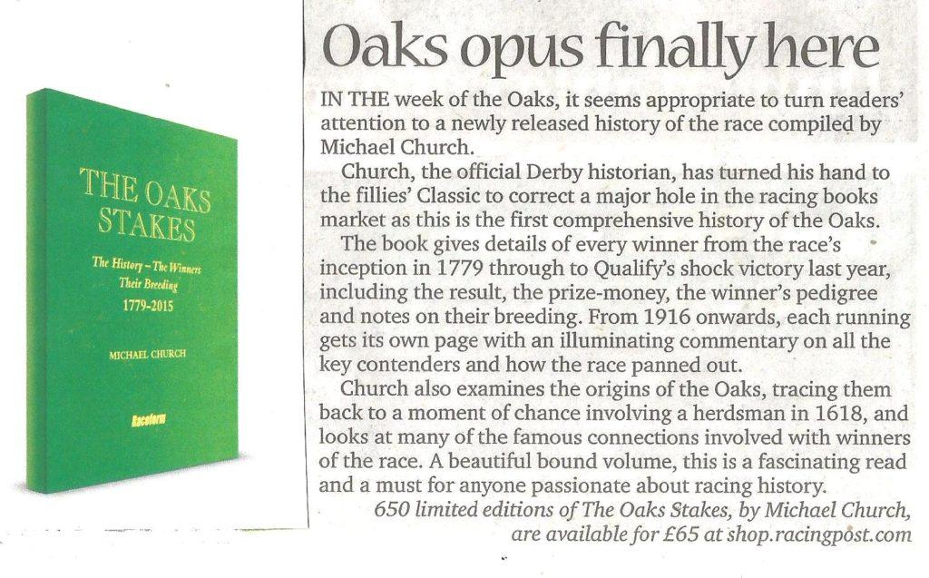 Oaks book Weekender review (2)